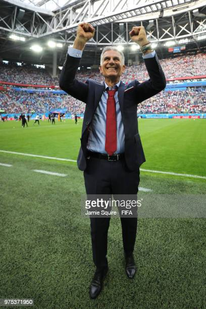 Carlos Queiroz Head coach of Iran celebrates victory during the 2018 FIFA World Cup Russia group B match between Morocco and Iran at Saint Petersburg...