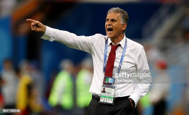 Carlos Queiroz Head coach of Iran gestures during the 2018 FIFA World Cup Russia group B match between Iran and Portugal at Mordovia Arena on June 25...