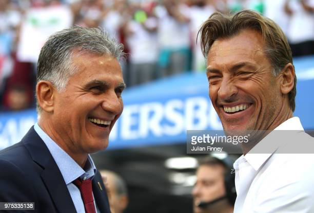 Carlos Queiroz Head coach of Iran greets Herve Renard Head coach of Morocco prior to the 2018 FIFA World Cup Russia group B match between Morocco and...