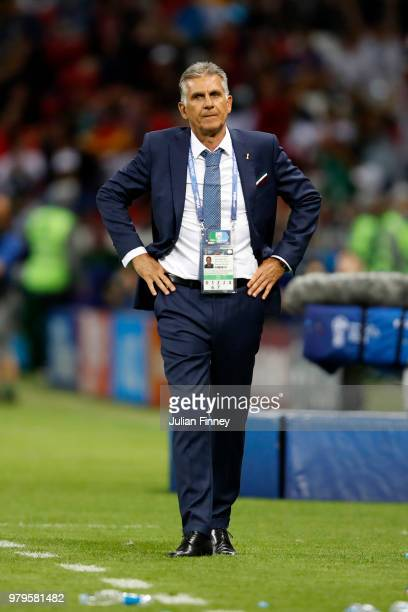 Carlos Queiroz Head coach of Iran looks on during the 2018 FIFA World Cup Russia group B match between Iran and Spain at Kazan Arena on June 20 2018...