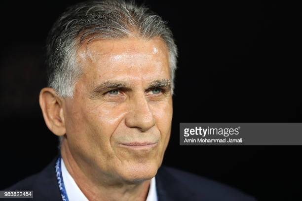 Carlos Queiroz Head coach of Iran looks on during the 2018 FIFA World Cup Russia group B match between Iran and Portugal at Mordovia Arena on June 25...