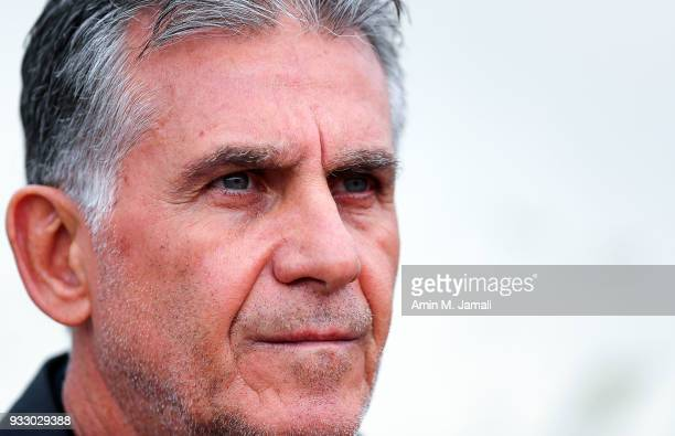 Carlos Queiroz head coach of Iran looks on during the International Friendly bwtween Iran and Sierra Leone at Azadi Stadium on March 17 2018 in...