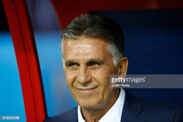 Carlos Queiroz Head coach of Iran looks on prior to the 2018 FIFA World Cup Russia group B match between Iran and Spain at Kazan Arena on June 20...