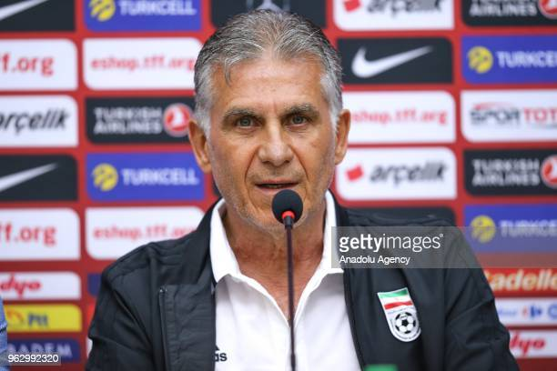 Carlos Queiroz head coach of Iran national football team attends a press conference ahead of a friendly football match between Turkey and Iran at BJK...