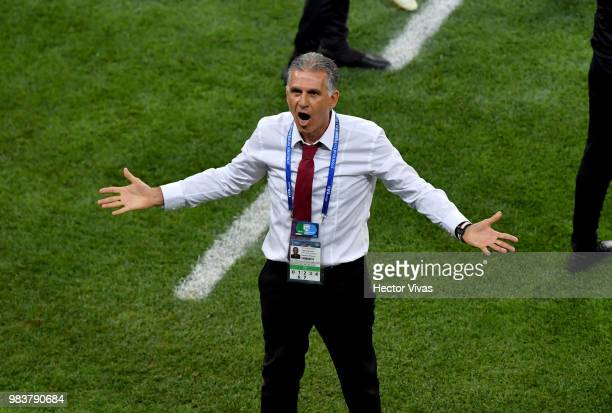 Carlos Queiroz Head coach of Iran reacts during the 2018 FIFA World Cup Russia group B match between Iran and Portugal at Mordovia Arena on June 25...