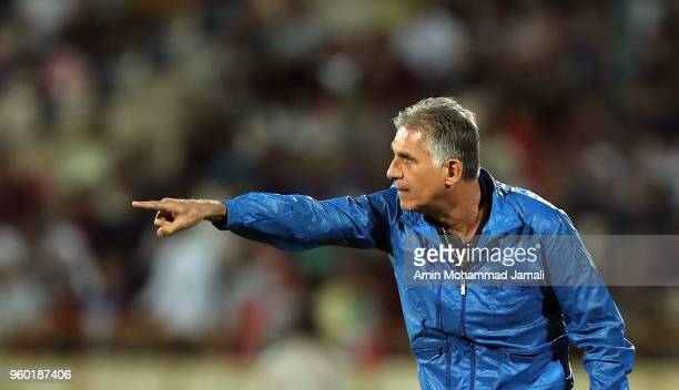 Carlos Queiroz head coach of Iran reacts during the international friendly match between Iran and Uzbekistan at Azadi Stadium on May 19 2018 in...
