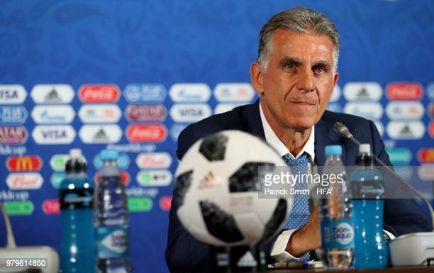Carlos Queiroz Head coach of Iran speaks during a press conference after the 2018 FIFA World Cup Russia group B match between Iran and Spain at Kazan...