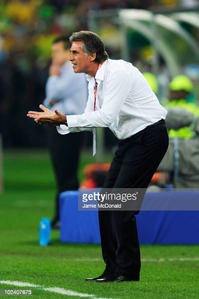 Carlos Queiroz head coach of Portugal encourages his players during the 2010 FIFA World Cup South Africa Group G match between Portugal and Brazil at...