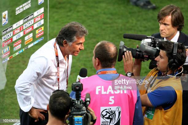 Carlos Queiroz head coach of Portugal is interviewed after the 2010 FIFA World Cup South Africa Group G match between Portugal and Brazil at Durban...