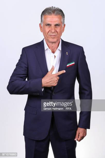 Carlos Queiroz of Iran poses during the official FIFA World Cup 2018 portrait session at Bakovka Training Base on June 9 2018 in Moscow Russia