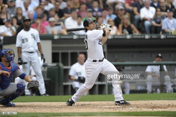 Carlos Quentin of the Chicago White Sox bats during the game against the Chicago Cubs at U.S. Cellular Field in Chicago, Illinois on June 27, 2008....