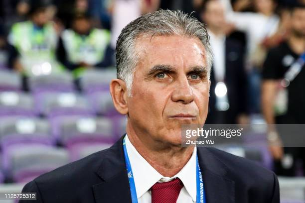 Carlos Quieroz coach of Iran in action during the AFC Asian Cup semi final match between Iran and Japan at Hazza Bin Zayed Stadium on January 28 2019...