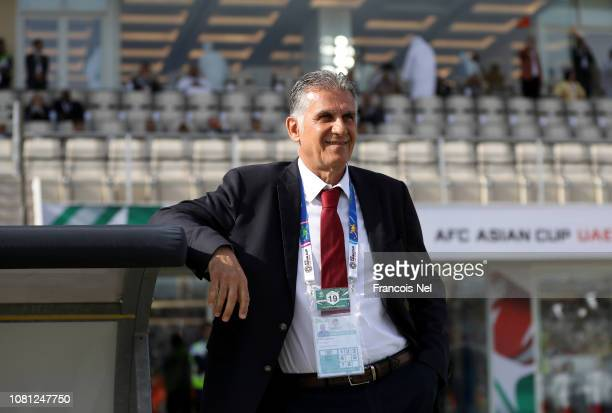 Carlos Quieroz Head Coach of Iran looks on during the AFC Asian Cup Group D match between Vietnam and Iran at Al Nahyan Stadium on January 12 2019 in...