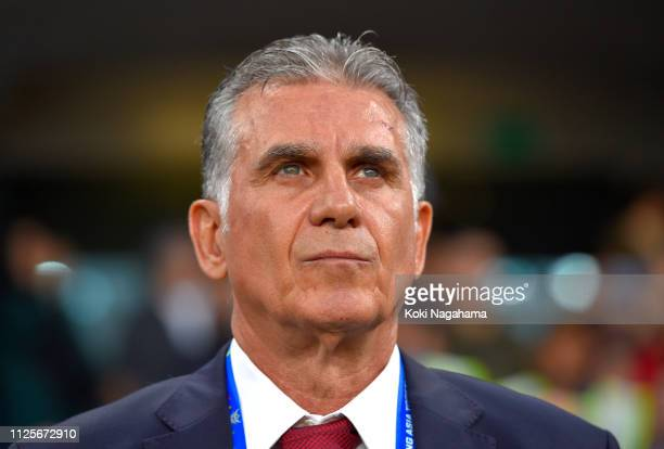 Carlos Quieroz Manager of Iran ahead of the AFC Asian Cup semi final match between Iran and Japan at Hazza Bin Zayed Stadium on January 28 2019 in Al...