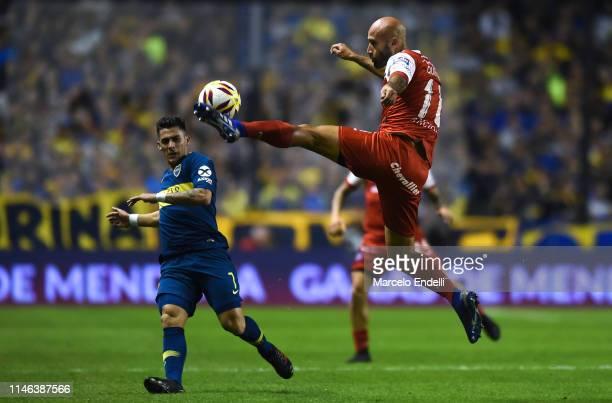 Carlos Quintana of Argentinos Juniors kicks the ball during a second leg semifinal match between Boca Juniors and Argentinos Juniors as part of Copa...