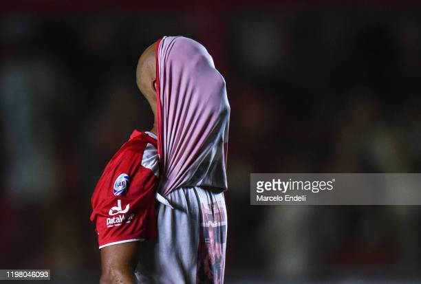 Carlos Quintana of Argentinos Juniors reacts after a match between Argentinos Juniors and Racing Club as part of Superliga 2019/20 at Diego Armando...