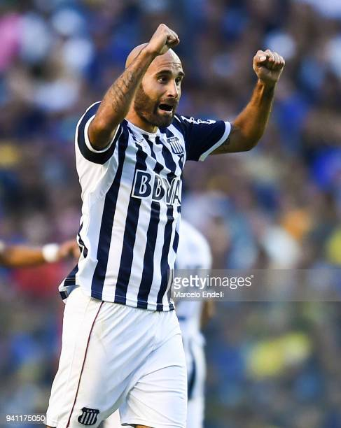 Carlos Quintana of Talleres celebrates after scoring the first goal of his team during a match between Boca Juniors and Talleres as part of Superliga...