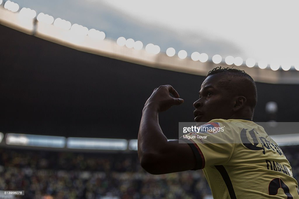 Carlos Quintero of America celebrates after scoring the third goal of his team during the 9th round match between America and Morelia as part of the Clausura 2016 Liga MX at Azteca Stadium on March 05, 2016 in Mexico City, Mexico.