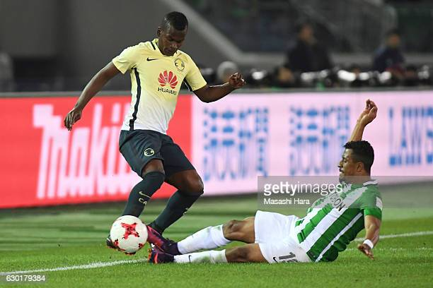 Carlos Quintero of Club America and Farid Diaz of Atletico National compete for the ball during the FIFA Club World Cup 3rd place match between Club...