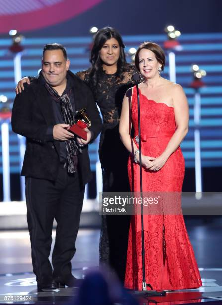 Carlos R Perez Joanna Egozcue and Roxy Quinones accept the award for Best Short Form Music Video for Despacito at the Premiere Ceremony during the...