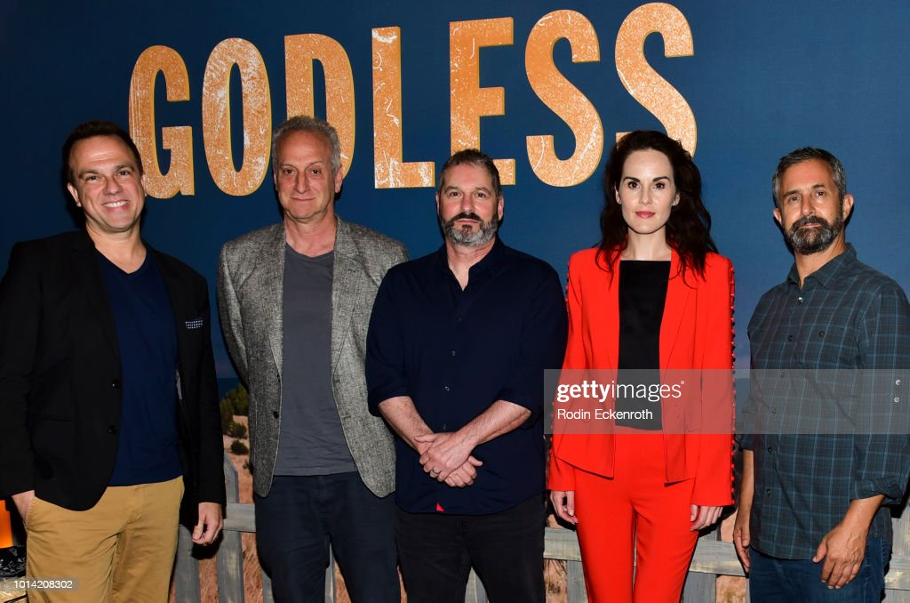 Carlos Rafael Rivera, Casey Silver, Scott Frank, Michelle Dockery, and Steven Meizler attend the Netflix 12 Emmy nominations celebration for 'Godless' at DGA Theater on August 9, 2018 in Los Angeles, California.