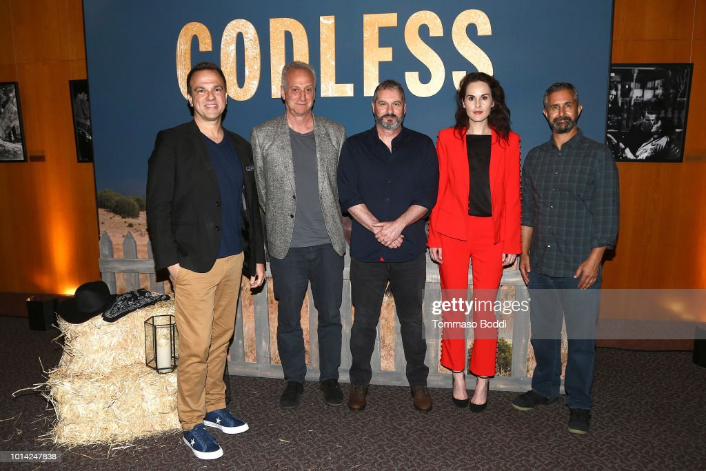 Carlos Rafael Rivera, Casey Silver, Scott Frank, Michelle Dockery and Steven Meizler attend the Netflix Celebrates 12 Emmy Nominations For 'Godless' at DGA Theater on August 9, 2018 in Los Angeles, California.