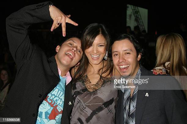 Carlos Ramirez, Kelly Hu and Efrain Ramirez during Cadillac Presents Rock & Republic Fall 2005 Fashion Show - Backstage and Front Row at Sony Studios...