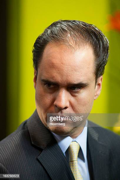Carlos Ramirez president of Consar Mexico's pension fund regulator listens during an interview in Mexico City Mexico on Thursday March 7 2013...