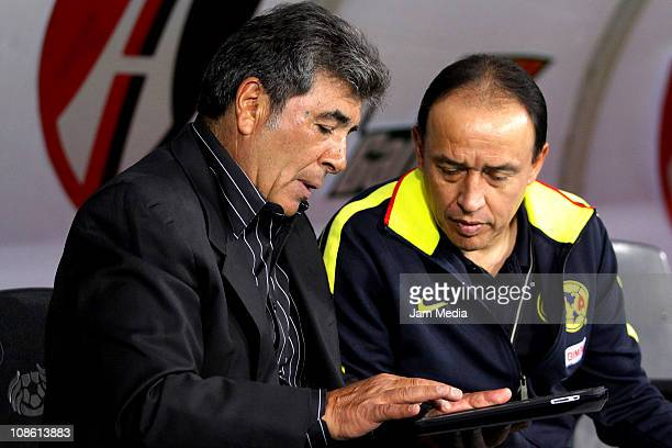 Carlos Reinoso coach and Alejandro Dominguez assistant of America during a match as part of the Clausura 2011 at Jalisco Stadium on January 29 2011...