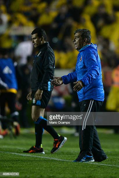 Carlos Reinoso coach of Veracruz gives instructions during a match between Tigres UANL and Veracruz as part of 12th round Clausura 2015 Liga MX at...