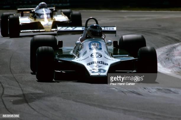 Carlos Reutemann, René Arnoux, Williams-Ford FW07B, Renault RE20, Grand Prix of Belgium, Circuit Zolder, 04 May 1980.