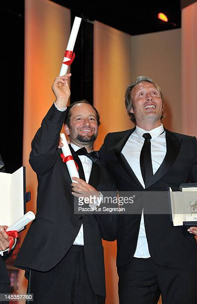 Carlos Reygadas receives the Award for Best Director for 'Post Tenebras Lux' and Mads Mikkelsen receives Best Actor for his role in The Hunt onstage...