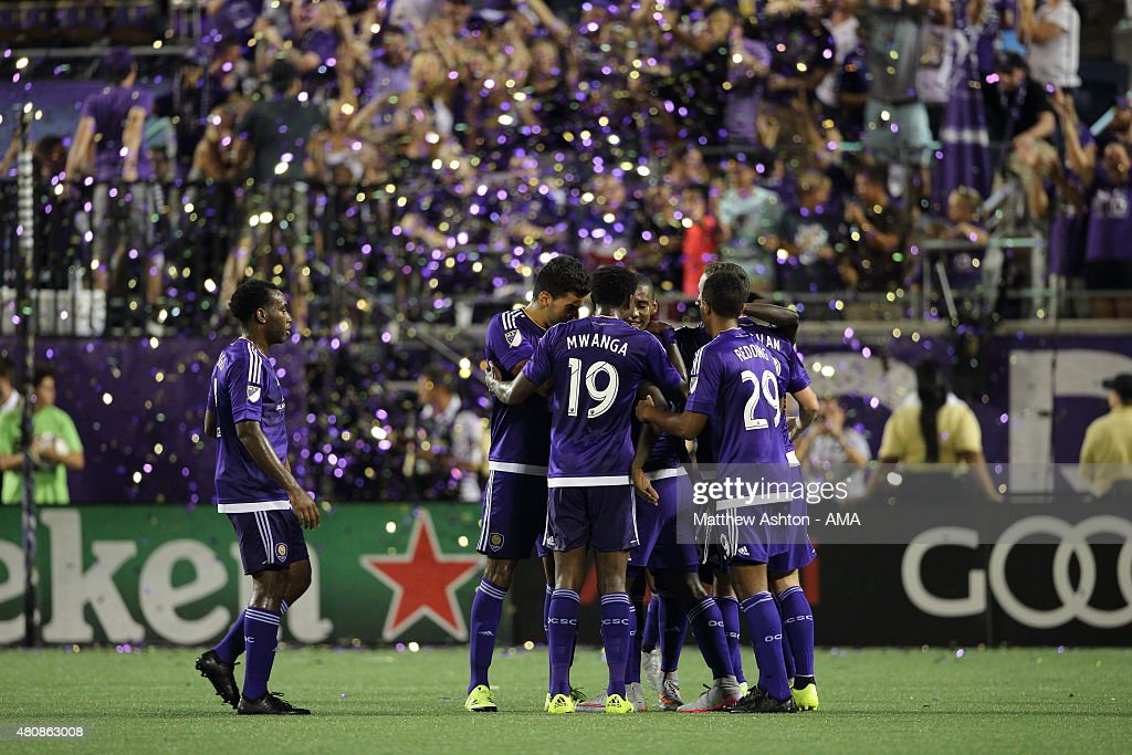 Carlos Rivas of Orlando City celebrates after scoring a goal to make it 2-1 during the pre-season friendly between Orlando City and West Bromwich Albion at Orlando Citrus Bowl on July 15, 2015 in Orlando, Florida.