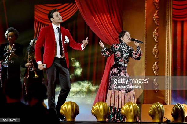 Carlos Rivera and Natalia Lafourcade perform onstage during The 18th Annual Latin Grammy Awards at MGM Grand Garden Arena on November 16 2017 in Las...
