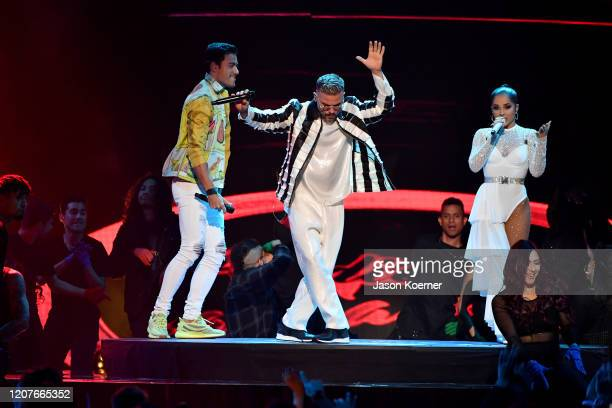 Carlos Rivera Pedro Capo and Becky G perform live on stage during Univision's Premio Lo Nuestro 2020 at AmericanAirlines Arena on February 20 2020 in...