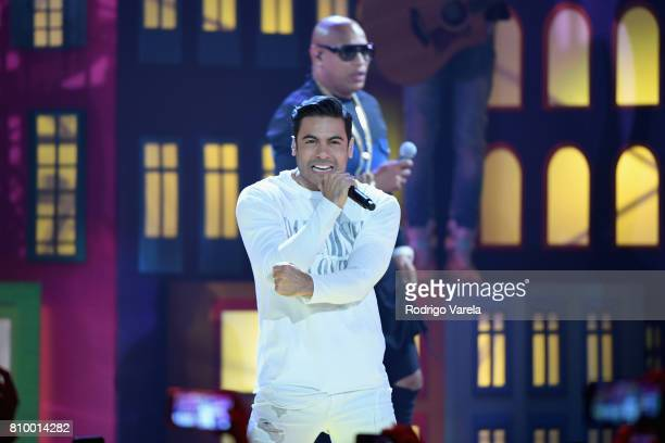 Carlos Rivera performs on stage during Univision's 'Premios Juventud' 2017 Celebrates The Hottest Musical Artists And Young Latinos ChangeMakers at...