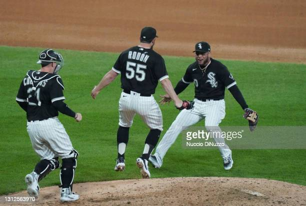 Carlos Rodon of the Chicago White Sox celebrates his no-hitter against the Cleveland Indians at Guaranteed Rate Field on April 14, 2021 in Chicago,...