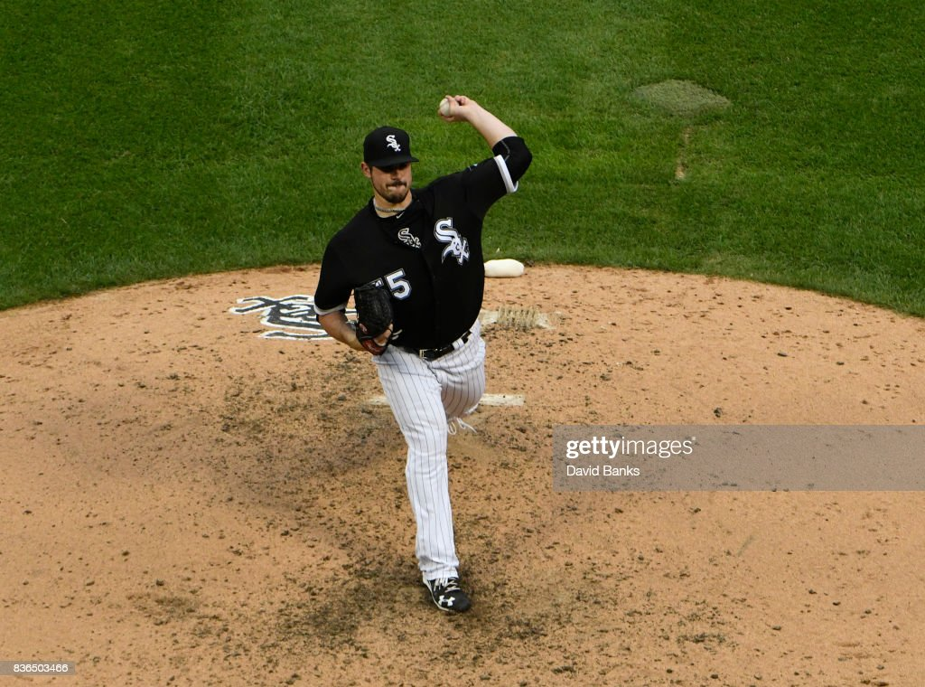 Carlos Rodon #55 of the Chicago White Sox pitches against the Minnesota Twins during the fifth inning in game one of a doubleheader on August 21, 2017 at Guaranteed Rate Field in Chicago, Illinois.