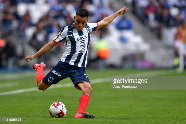 Carlos Rodríguez of Monterrey kicks the ball during the 9th round match between Monterrey and Atletico San Luis as part of the Torneo Clausura 2020...