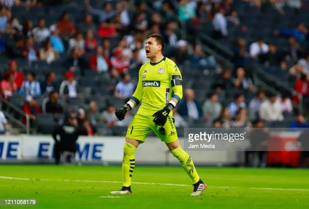 Carlos Rodriguez Goalkeeper of San Luis celebrates after the second goal of his team during the 9th round match between Monterrey and Atletico San...