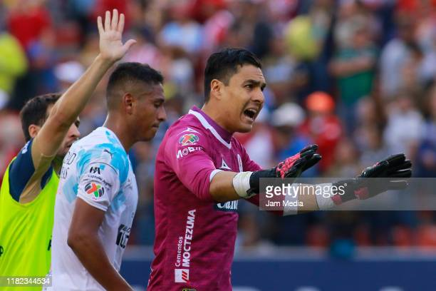 Carlos Rodriguez goalkeeper of San Luis gives instructions during the 14th round match between Atletico San Luis and Queretaro as part of the Torneo...