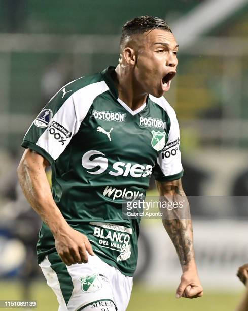 Carlos Rodriguez of Cali celebrates after scoring the first goal of his team during a second round first leg match between Deportivo Cali and Peñarol...