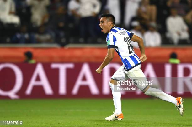 Carlos Rodriguez of CF Monterrey celebrates after scoring his team's third goal during the FIFA Club World Cup 2nd round match between Monterrey and...