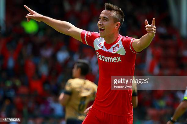 Carlos Rodriguez of Toluca celebrates after scoring the first goal of his team during a 2nd round match between Toluca and Pumas UNAM as part of the...