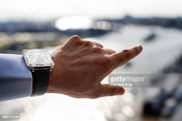 Carlos Rosillo founder and CEO of Bell And Ross hand detail attends the Bell Ross Cocktail Party at Elbphilharmonie show apartment on June 14 2017 in...