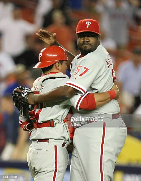 Carlos Ruiz and Antonio Alfonseca of the Philadelphia Phillies celebrate their 42 win against the New York Mets at Shea Stadium on June 5 2007 in the...