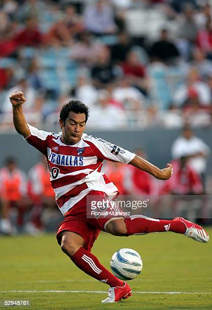 Carlos Ruiz of FC Dallas takes a shot on goal against the Colorado Rapids on May 18, 2005 at the Cotton Bowl in Dallas, Texas.
