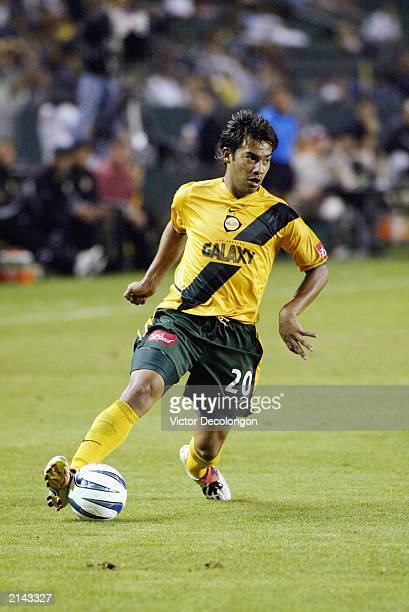 Carlos Ruiz of the Los Angeles Galaxy controls the ball down low on the right wing against the Dallas Burn in the second half of their MLS game on...