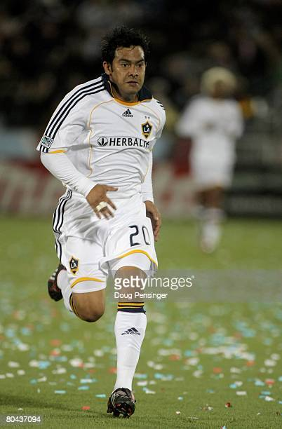 Carlos Ruiz of the Los Angeles Galaxy in action against the Colorado Rapids at Dick's Sporting Goods Park on March 29, 2008 in Commerce City,...