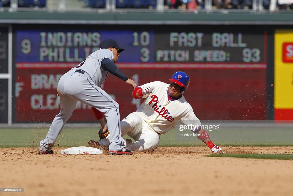Carlos Ruiz #51 of the Philadelphia Phillies during a game against the Cleveland Indians at Citizens Bank Park on May 15, 2013 in Philadelphia, Pennsylvania. The Indians won 10-4.